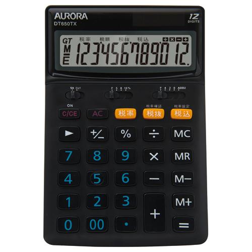 AURORA 中型電卓 12桁 卓上タイプ DT650TX-B 1台
