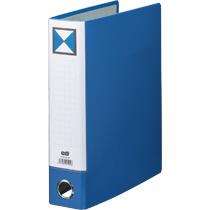 TANOSEE 片開きパイプ式ファイルKJ(指かけ穴付) A4タテ 500枚収容 50mmとじ 背幅66mm 青 1冊