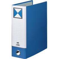 TANOSEE 片開きパイプ式ファイルKJ(指かけ穴付) A4タテ 800枚収容 80mmとじ 背幅96mm 青 1冊