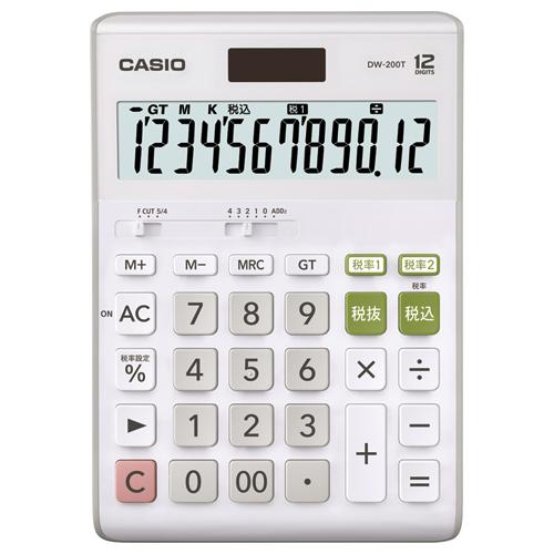 カシオ W税率電卓 12桁 デスクサイズ DW-200T-N 1台