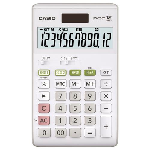 カシオ W税率電卓 12桁 ジャストタイプ JW-200T-N 1台