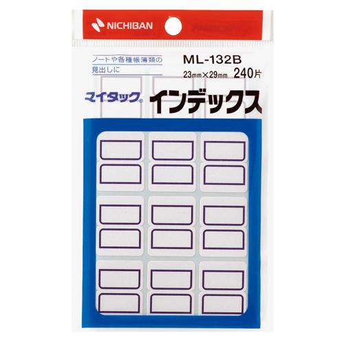 ニチバン マイタック インデックス 紙ラベル 中 23×29mm 青枠 ML-132B 1パック(240片:12片×20シート)