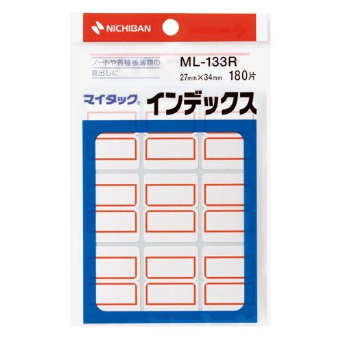 ニチバン マイタック インデックス 紙ラベル 大 27×34mm 赤枠 ML-133R 1パック(180片:9片×20シート)
