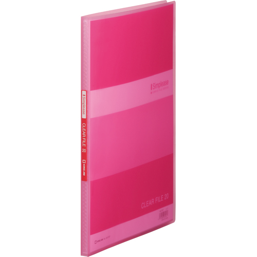 キングジム シンプリーズ クリアーファイル(透明) A4タテ 20ポケット 背幅12mm ピンク 184TSP 1冊