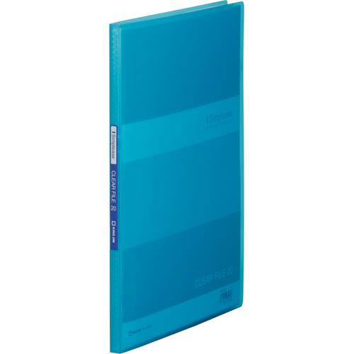 キングジム シンプリーズ クリアーファイル(透明) A4タテ 20ポケット 背幅12mm 青 184TSP 1冊