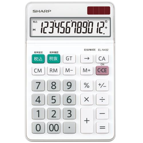 シャープ エルシーメイト電卓 12桁 ナイスサイズ EL-N432-X 1台