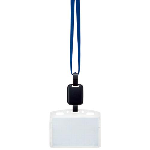 吊り下げ名札セット(リール式・ソフトケース・チャック式) 青 1パック(10個)
