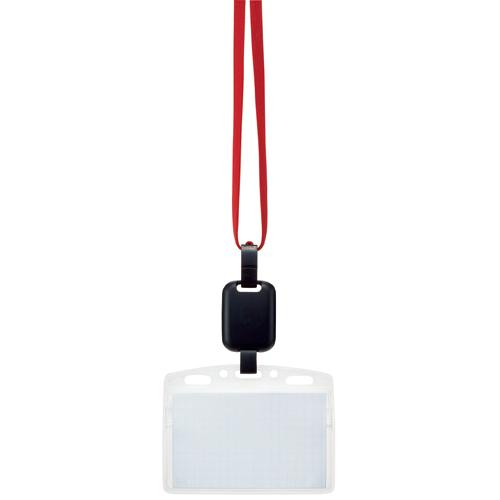 吊り下げ名札セット(リール式・ソフトケース・チャック式) 赤 1パック(10個)