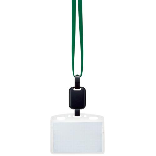 吊り下げ名札セット(リール式・ソフトケース・チャック式) 緑 1パック(10個)