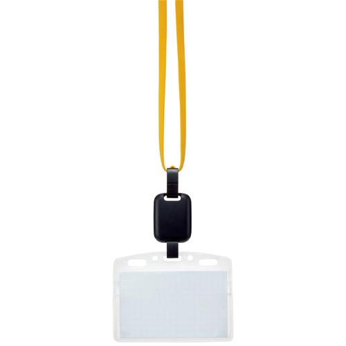 吊り下げ名札セット(リール式・ソフトケース・チャック式) 黄 1パック(10個)