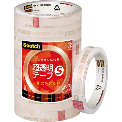 3M スコッチ 超透明テープS 15mm×35m BK-15N 1パック(10巻)