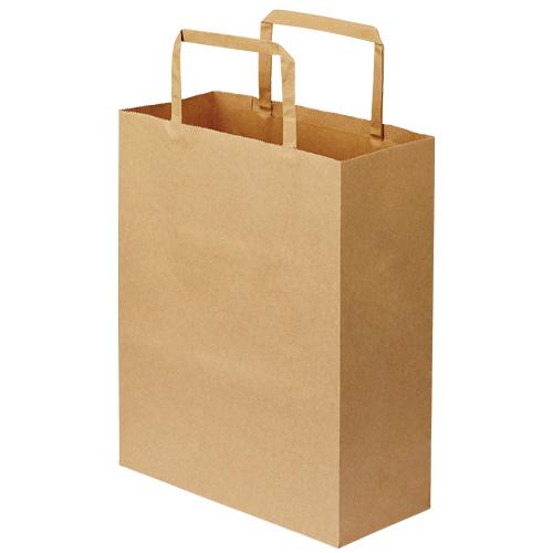 TANOSEE 紙手提袋 平紐 特小 ヨコ200×タテ245×マチ幅90mm 茶無地 1パック(30枚)