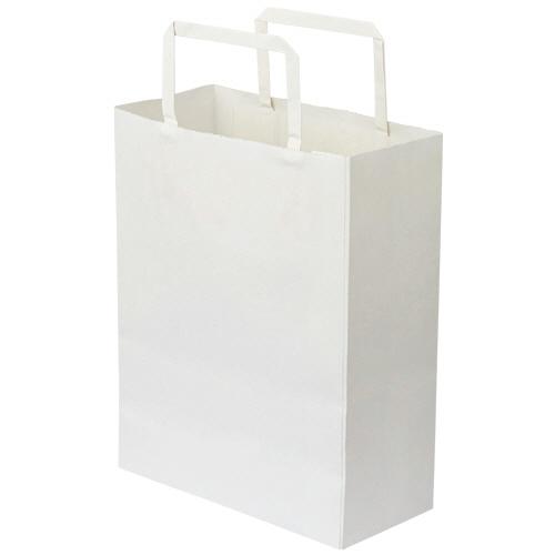 TANOSEE 紙手提袋 平紐 特小 ヨコ200×タテ245×マチ幅90mm 白無地 1パック(30枚)