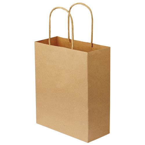 TANOSEE 紙手提袋 丸紐 特小 ヨコ200×タテ245×マチ幅90mm 茶無地 1パック(50枚)