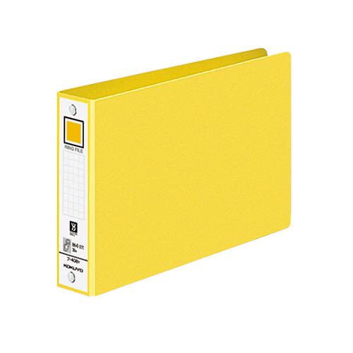 コクヨ リングファイル 色厚板紙表紙 B6ヨコ 2穴 220枚収容 背幅38mm 黄 フ-408NY 1冊