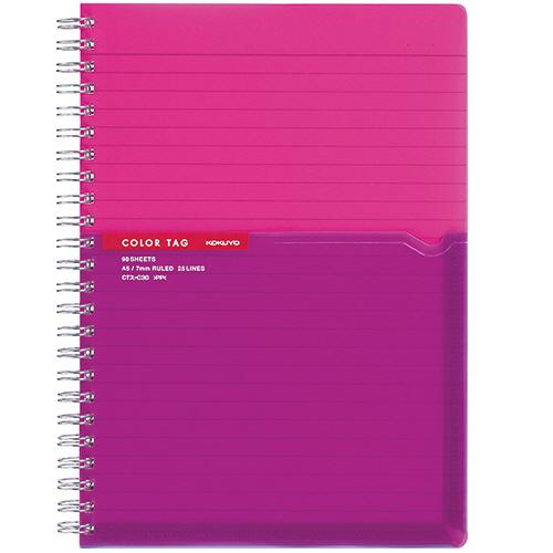 コクヨ ツインリングノート(カラータグ) Bi-COLOR A5 A罫 90枚 ピンク CTス-C30P 1冊