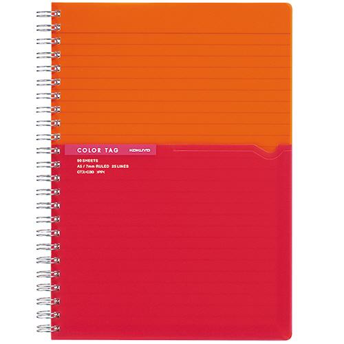 コクヨ ツインリングノート(カラータグ) Bi-COLOR A5 A罫 90枚 オレンジ CTス-C30YR 1冊