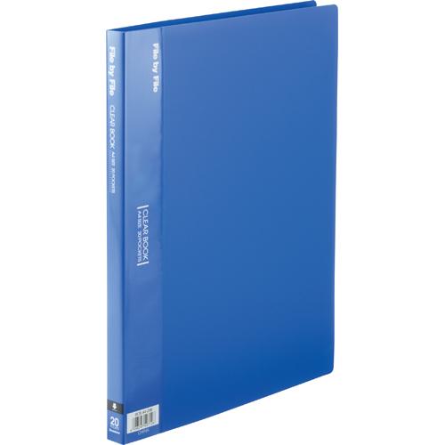 ビュートン クリヤーブック A4タテ 20ポケット 背幅17mm ブルー BCB-A4-20B 1冊