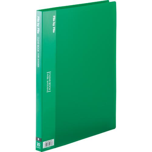 ビュートン クリヤーブック A4タテ 20ポケット 背幅17mm グリーン BCB-A4-20GN 1冊