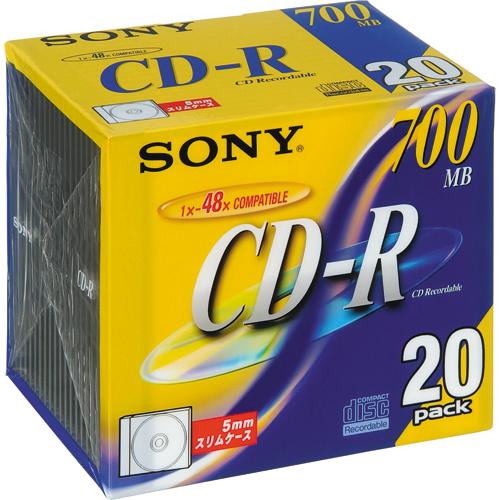 ソニー データ用CD-R 700MB 48倍速 ブランドシルバー 5mmスリムケース 20CDQ80DN 1パック(20枚)
