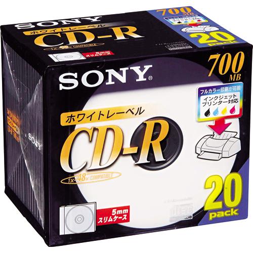ソニー データ用CD-R 700MB 48倍速 プリンタブルホワイト 5mmスリムケース 20CDQ80DPW 1パック(20枚)