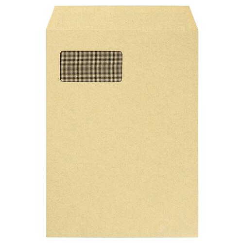 TANOSEE A4窓付クラフト封筒 テープのり付 裏地紋付 1パック(100枚)