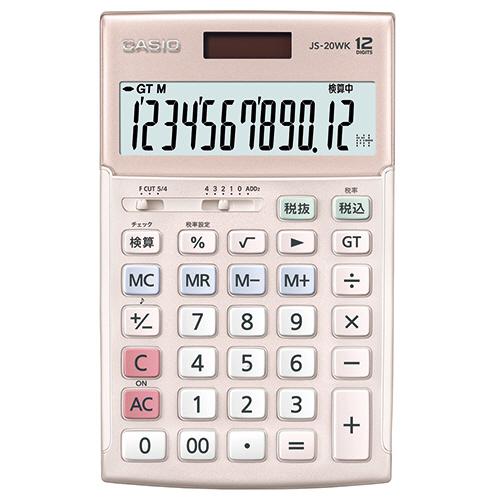 カシオ 本格実務電卓 12桁 ジャストタイプ ピンク JS-20WK-PK 1台