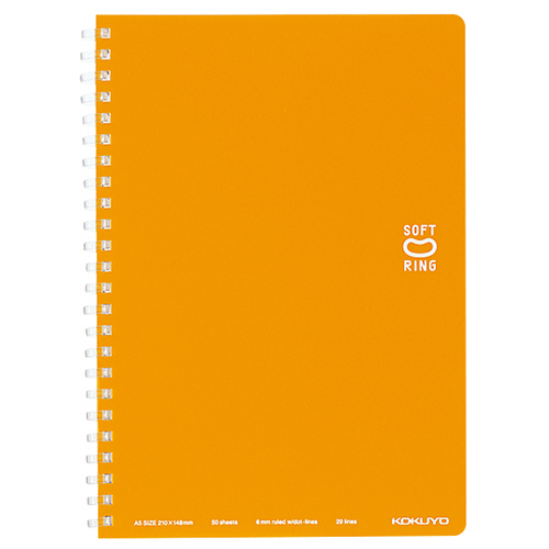 コクヨ ソフトリングノート(ドット入り罫線) A5 B罫 50枚 オレンジ ス-SV331BT-YR 1冊