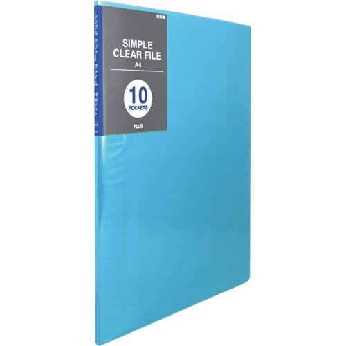 プラス シンプルクリアーファイル A4タテ 10ポケット 背幅6mm ブルー FC-210SC 1冊