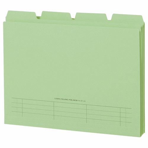 ライオン事務器 4カットフォルダー 山付ファイル A4 緑 No.31-4P 1パック(4冊)