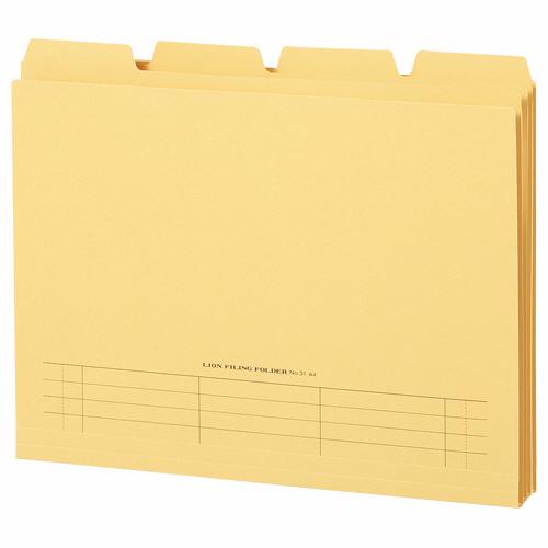 ライオン事務器 4カットフォルダー 山付ファイル A4 黄 No.31-4P 1パック(4冊)
