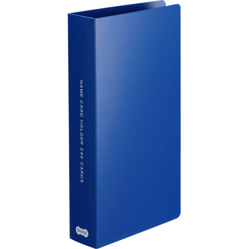 TANOSEE 名刺ホルダー 固定式 コンパクト 240名用 ヨコ入れ ブルー 1冊