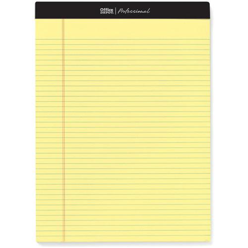 オフィスデポ リーガルパッド レターサイズ プロフェッショナル 6.3mm罫 イエロー 100枚 147419 1パック(4冊)