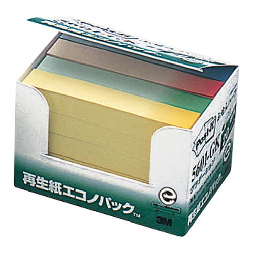 3M ポスト・イット エコノパック ふせんハーフ 再生紙 75×12.5mm グラデーション4色 5601-GK 1パック(20冊)