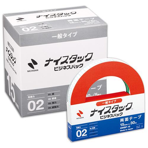 ニチバン ナイスタック 再生紙両面テープ ビジネスパック 大巻 15mm×30m NWBP-15 1パック(5巻)