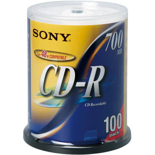 ソニー データ用CD-R 700MB 48倍速 シルバーレーベル スピンドルケース 100CDQ80DNS 1パック(100枚)