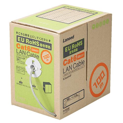 エレコム EU RoHS指令準拠 自作用カテゴリー6対応 LANケーブル(リレックス・単線仕様) ライトグレー 100m LD-CT6/LG100/RS 1箱