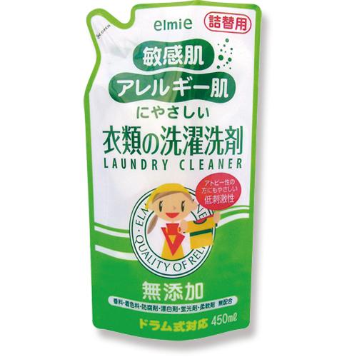 コーセー エルミー 敏感肌・アレルギー肌にやさしい衣類の洗濯洗剤 詰替え 450ml 021670 1個