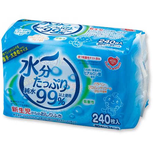ティー・エイチ・ティー スマイルママ 水分たっぷり純水99%おしりふき 1パック(240枚:80枚×3個)