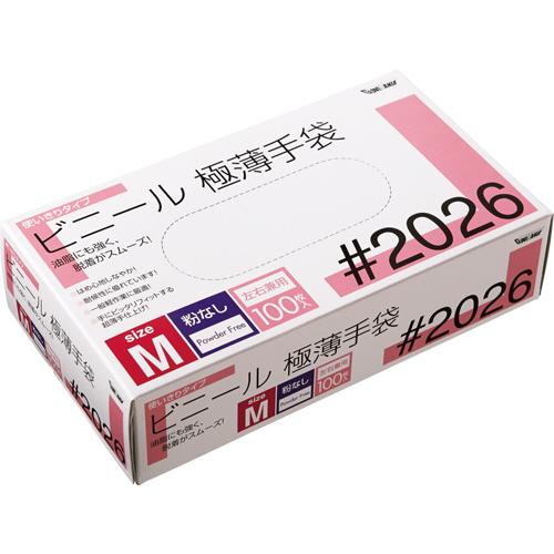 川西工業 ビニール極薄手袋 粉なし M #2026 1箱(100枚)