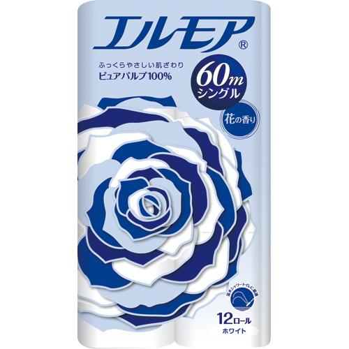 カミ商事 エルモア 花の香り シングル 芯あり 60m 1パック(12ロール)