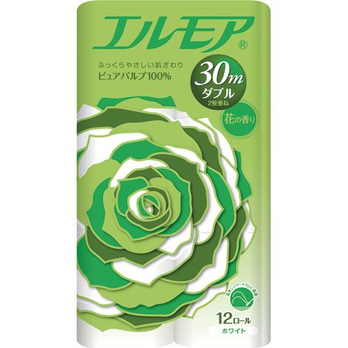 カミ商事 エルモア 花の香り ダブル 芯あり 30m 1パック(12ロール)