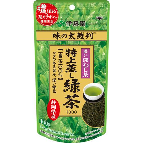 伊藤園 味の太鼓判 特上蒸し緑茶1000 100g 1袋