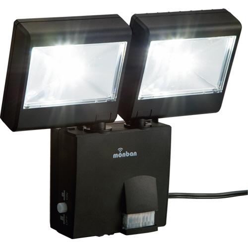 オーム電機 LEDセンサーライト (ソーラー式 2灯4W) LS-SH2D4-K 1台
