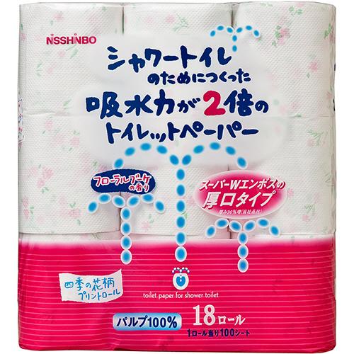 ダイオーペーパープロダクツ シャワートイレのためにつくった吸水力が2倍のトイレットペーパー フラワー香りつき ダブル 芯あり 23m 1パック(18ロール)