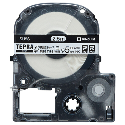 キングジム テプラ PRO テープカートリッジ 熱収縮チューブ 直径5mm 白/黒文字 SU5S 1個