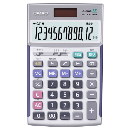 カシオ 本格実務電卓 12桁 ジャストタイプ JS-20WK 1台