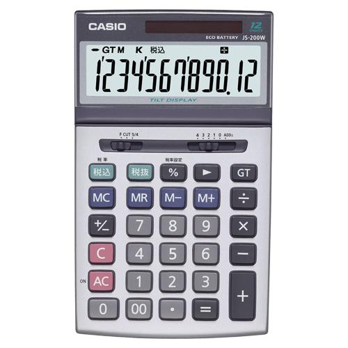カシオ 本格実務電卓 12桁 ジャストサイズ JS-200W-N 1台