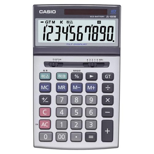カシオ 本格実務電卓 10桁 ジャストサイズ JS-100W-N 1台