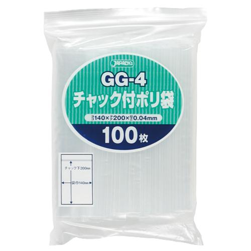ジャパックス チャック付ポリ袋 ヨコ140×タテ200×厚み0.04mm GG-4 1パック(100枚)